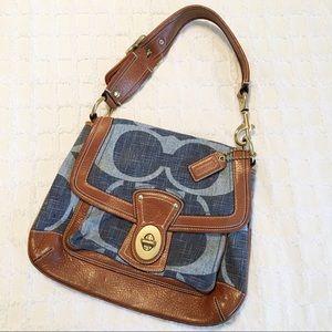 Coach Legacy Signature Denim Leather Turnlock Bag